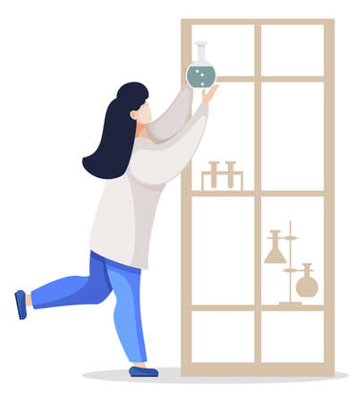 Female character working in laboratory reaching shelf top putting flask with chemical substance. Chemist or scientist in lab. Isolated student or researcher, doctor in clinics or assistant, vector