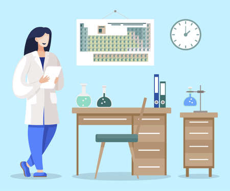 Chemist with report in laboratory. Female character working on research or scientific experiment in lab. Student or professor of chemistry. Workplace with equipments and files. Vector in flat style