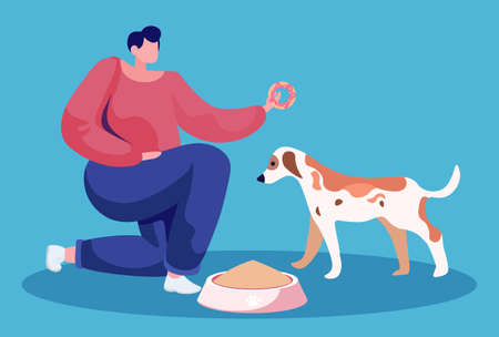 Male character feeding pet with special nutritious food. Isolated pet owner with canine animal. Man holding donut sweets showing his puppy. Bowl filled with lunch for doggy, vector illustration