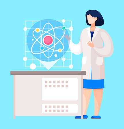 Scientists conducting experiment in laboratory. Female character, chemist showing molecule. Atom with core, protons and neutrons. Researcher in scientific laboratory institution. Vector in flat style Illustration