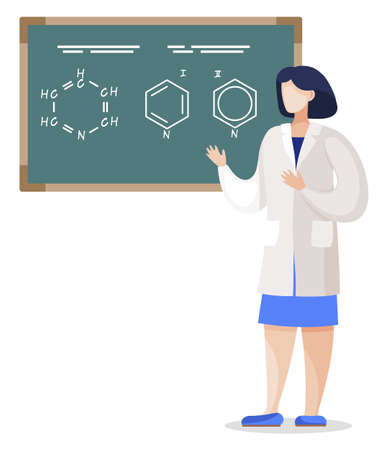 Chemistry lessons and practice of chemist student. Isolated female character standing by chalkboard with molecular formula. Woman explaining scientific experiment in theory, vector in flat style