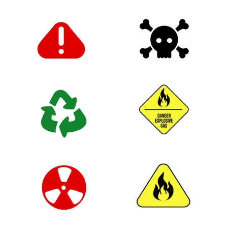 Signs of danger set and packaging recycling. Illustration on white background for design. Radiation hazard, danger explosive gas, hazardous materials and locations, fire safety warning symbol