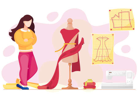 Woman examines a mannequin with red textile for future dress. Parameter measurement. Seamstress sews clothes to order for customers. Sewing machine. Clothing marking. The girl works in the atelier