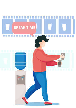 Office worker taking short coffee break, standing near cooler with hot and cold water, with paper cups in his hand. Giving himself some time to rest before coming back to his business project