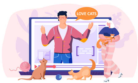 Social media post about love for cats. Cute kittens in the arms of woman. A man blogging talks about animals. Pet affection, owners with animal near laptop screen with video player vector illustration