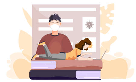 A girl with a laptop lies on books and works or studies on her computer from home during COVID-19. Online learning with a poster about the need to prevent the spread of coronavirus. Quarantine 矢量图像