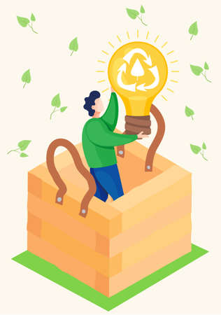 A man stands in a wooden box and raises a large light bulb with a recycling logo on it. Production of environmentally friendly electricity. Recycling garbage and unnecessary things. Natural products