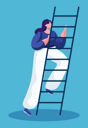 Woman going upstairs to achieve success isolated lady in flat cartoon style. Vector illustration of girl standing on ladder, business achievements and progress concept. Girl climbing up stairs