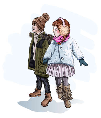 Isolated colorless sketch outline brother and sister. Little boy and girl playing outdoors together. People spending time together. Children outdoors, vector illustration. Kids wearing winter clothes.