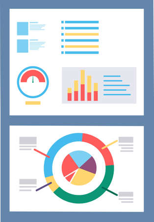 Board with analytics information and graph. Diagram with colorful segments for business reports. Presentation of startup strategies on graphics. Vector illustration of data analysis in flat style
