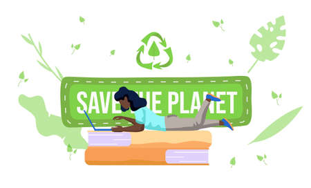 A girl with a laptop lies on the books and works or studies on her computer. Save the planet concept. People protect the environment and do not harm it. Garbage recycling logo on background. Ecology