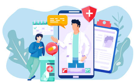 Online consultation of a patient with a doctor. The therapist prescribes treatment for a man via the Internet. Smiling guy leans on container with pills and talks. Medicine in a mobile phone Ilustracja