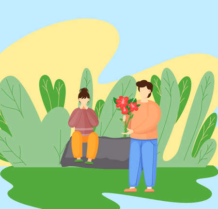 Man giving flower to woman who covers her face with her hands in surprise. Love and romance concept. Couple in love in the park on a romantic date, guy congratulates the girl, gives a bouquet