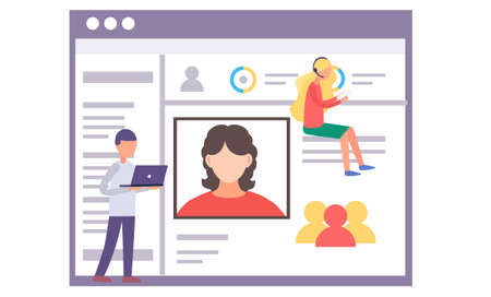 Concept of social media comminication. Man and woman converse online with modern technologies. Flat vector illustration of page with photo and description for contacts and messages in network
