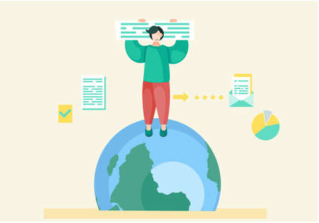 Man is standing in top of the green blue globe, holding an information poster in hands overhead. Prepare for the day of the Earth, save the planet, preserve the ecology flat vector illustration Ilustração