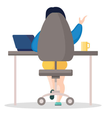 Vector illustration of business person sitting at the table in the office and working. Businesswoman using laptop and talking with partners by video call, gesturing hands and sitting back.