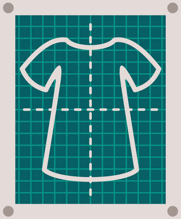 Cartoon tailor pattern of fashionable cloth. Pattern of shirt, sweater or dress at green background with marked fields and dotted line. Concept of modern pattern in sewing shop. Vector illustration. Ilustração