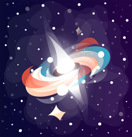 Space game lements. Glowing light effect. Lighting effects of flash. Cartoon icon of light glare, highlight in space among stars. Element of mobile game. Splash in space. Bright unknown space element.