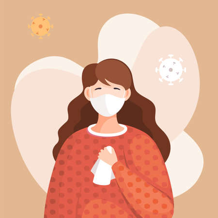 Covid-19, portrait of woman in respiratory medical mask, flying virus pathogen around. Spreading virus in air. Concept of coronavirus spreading. Girl in center of epidemy. Protected with immune system Ilustração