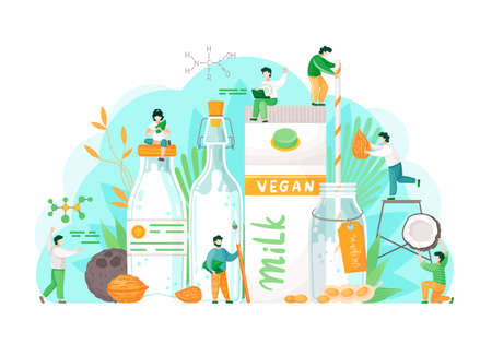 Veganism concept. Vegetarian almond, oat, rice, soya and hazelnut water. People near paper bag with vegan milk. Man and woman on milk package and holding nut in hand. Milk glass. Healthy lifestyle
