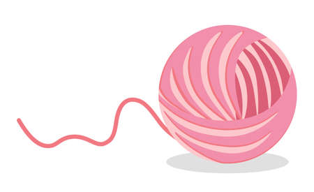 Thread sphere ball of pink wool isolated knitting item in flat cartoon style. Vector material for sewing and toy for kittens play. Needlecraft accessory illustration, cotton yarn for needle work