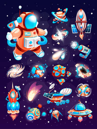 Cosmos elements of cartoon space game. Set on a space theme, including a rockets, planets, aliens, blasters, stars, asteroids, comets, orbital station, galaxies. Vector icons on space background