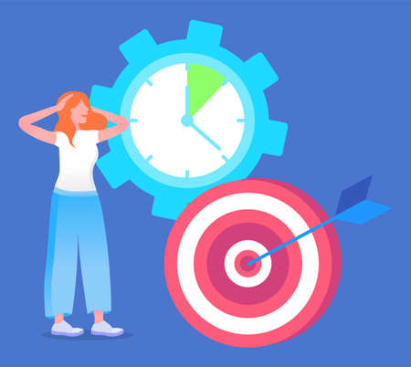 Woman in hurry, learning how to achieve goal, effective time management concept. Vector illustration clock with no time, deadline, necessity in effective management. Searching way to structure process Ilustración de vector