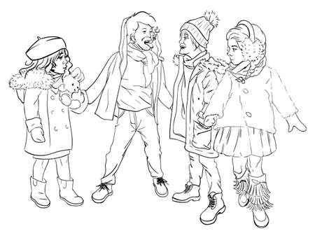Little boys and girls playing outdoor together. Happy childhood, friends teasing each other. Kids in warm clothes, winter weather. Hand drawn sketch, outline drawing of children. Illustration in flat