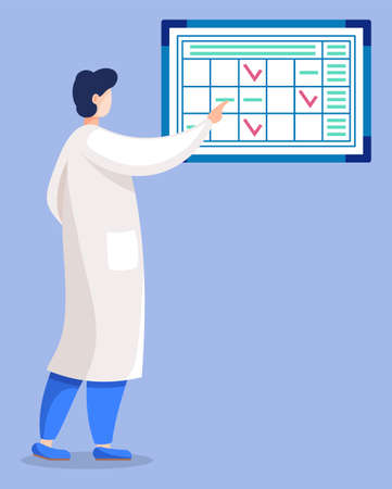 Doctor practitioner checking schedule isolated man or woman in medical cloth. Vector ilustration physician back view, administrative worker organize work process in hospital. Organisation work process