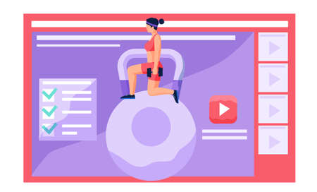 Beautiful young woman dressed in sportswear doing fitness squat down with dumbbells, video player with workout exercise tutorial. Healthy lifestyle, girl training, doing sports remotely from home Vector Illustration