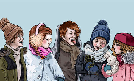 Kids playing together outdoors. Boys and girls wearing winter clothes spending time together. Weekends games of kids. Brothers or sisters, siblings on holidays. Happy friends, vector illustration Illusztráció