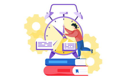 A young man is trying to stop time and holding the arrow of a clock standing on two books. A man brakes the watch against a background of yellow gears. The fleeting time before exam. Hurry before test