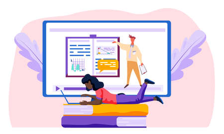 Woman lies on two books and works on laptop. Monitor with video and a man standing next to a book about charts and analysts work on the background. Woman doing her task next to the screen. Working day Ilustracja