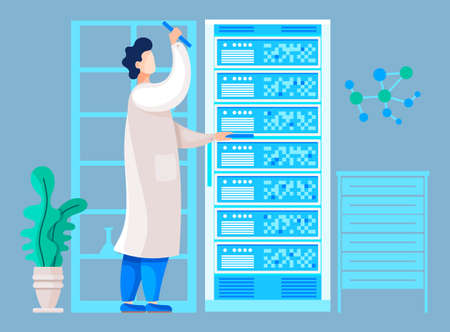 Researcher working in science center checking results of test or analysis. Modern laboratory with equipments and technologies for medical expertise. Medical worker or chemist, vector in flat style