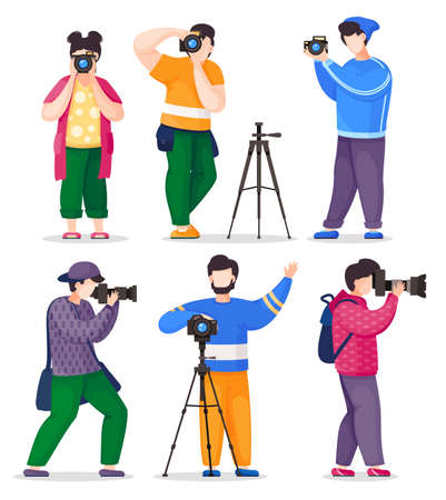 Isolated photographers, paparazzi or journalists set taking photos, female and males take shoot using professional digital cameras with removable zoom lens, camera tripod, equipment bag and backpack
