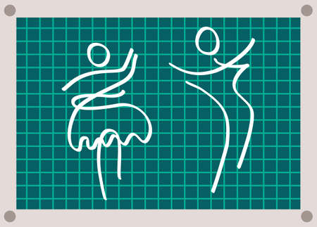 White silhouette of dancing couple on green checkered background with marked fields. Swirling couple silhouette. Abstract simple green checker paper sketch of dancing people. Retro dance, waltz