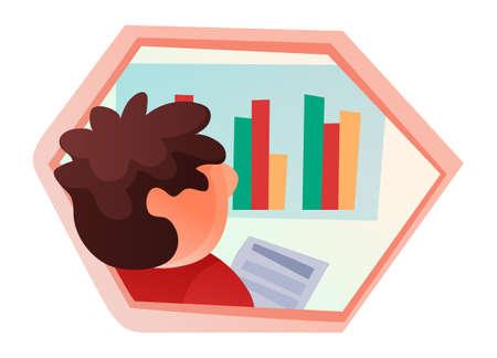 Vector male character studies progress company chart, enterprise, businessman analyzes profit, data financial analysis, company growth, business development. Investment bar chart, hexagon concept.
