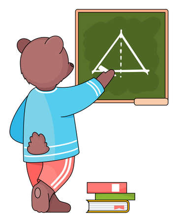 Funny cartoon animal student. A smart bear schoolboy with chalk in hand is writing on a blackboard. Pupil is drawing a triangle and solving a geometric task. Back to school concept, education theme