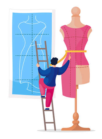 Sewing workshop, atelier, custom clothing. Big mannequin with measuring tape and tiny man seamstress standing on the stairs and measuring the dress on the mannequin. Flat design vector illustration