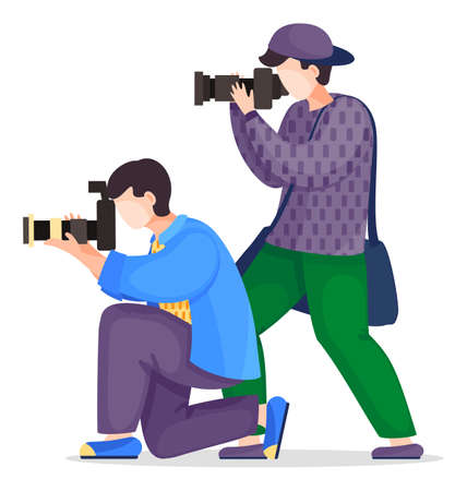 Set of vector cartoon characters isolated at white. Photographers or paparazzi taking photo, shooting with high resolution cameras. Man with camera standing at knee. Photo journalist with equipment