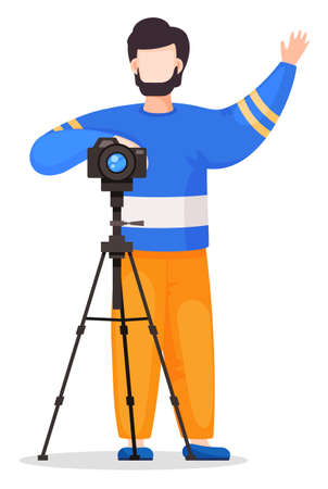 Photographer or paparazzi attract attention to take photo with reflex camera at tripod. Amateur shooting, using photocamera, front view. Cartoon vector character isolated at white background