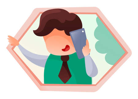 Vector illustration of smiling businessman talking on phone. Support assistant communicates with potential client on phone. Manager of call centre give instructions to the customer. Remote assistance. Stock Illustratie