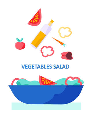 Cooking infographics. Let s make a vegetable salad with fresh tomatoes and bell peppers for dinner. Healthy wholesome food, vegetarian diet light meal. Plate with ingredients on white background