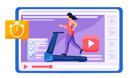 Girl in tracksuit running on the treadmill. Completed tasks per day. Training program for beginners and experienced athletes. The woman adheres to a healthy lifestyle. Running plan for the day 向量圖像