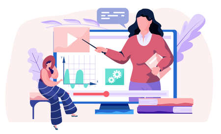 Teacher explains physics. A woman lecturer leads a distance lesson explains graphs to the student. Learning tutorial in internet, idea of remotely education and knowledge. Modern technologies