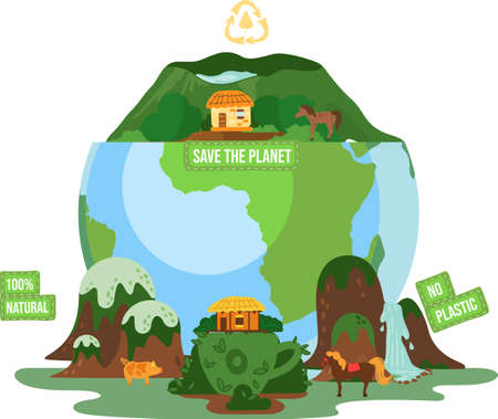 Save the planet earth, ecology eco environmental protection, no plastic natural banner with inscriptions, changing of the climate. Pure green nature with animals, green mountains and waterfalls