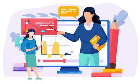 Woman on the monitor explains new topic. Online lesson. A female teacher stands next to a computer screen and describes a video to students. Geometry learning vector illustration. Math class