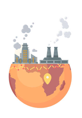 Highly polluting factory plant with smoking towers and pipes. Carbon dioxide emissions. Environment contamination. Flat style vector illustration environmental pollution isolated on white