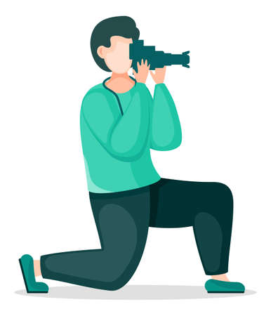Amateur photographer taking photo with reflex camera. Stylish man using professional equipment. Photographer shooting standing at knee for best photo. Cartoon character isolated at white background