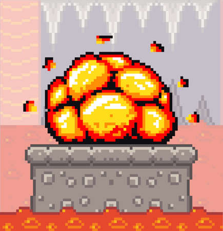 Pixel art game background with underground detonation of bomb. Game scene concrete plarform with bang explosion, dungeon with flowing river of fire. Pixel style subterranean landscape with lava river